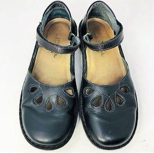NAOT black leather marry Jane cutout sandals 40/9